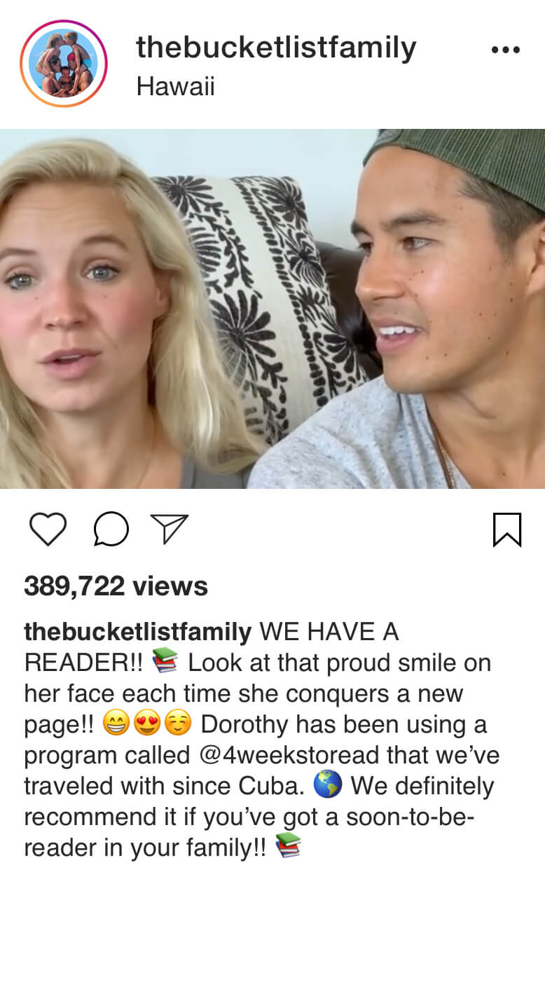 Instagram testimonial for Learning Dynamics by thebucketlistfamily