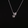 Amour necklace - zinc alloy and crystal double butterfly design