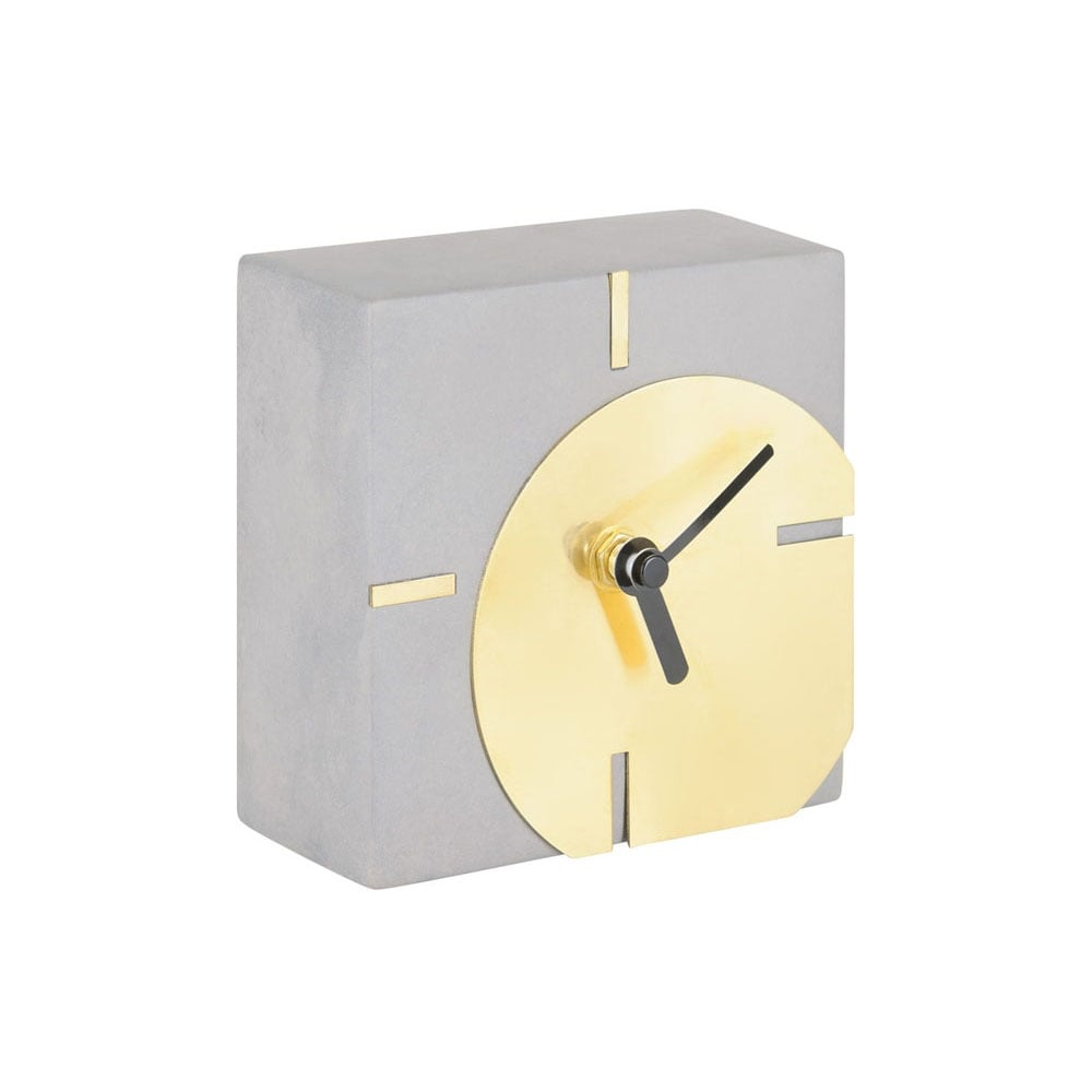 Concrete Table Clock with Gold Front