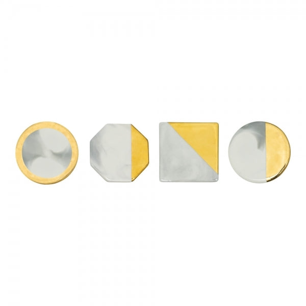 4  Gold Edge Ceramic Coaster, White Marble Effect