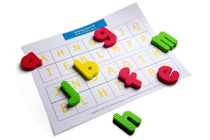 styrofoam letters. kids letter learning. fun learning. prek learning. prek kit. the at-home academy letter learning kit provides reading and writing lessons for prek kids