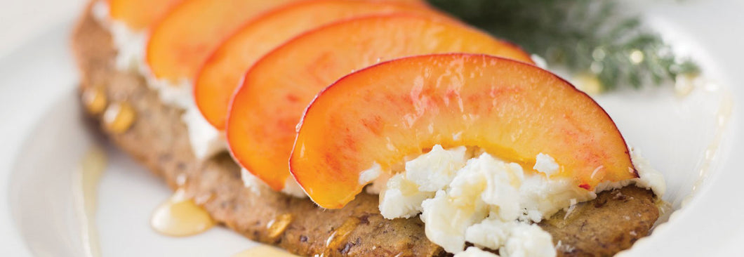 Beth Bakes Crispy Crackers with peaches, cheese and honey