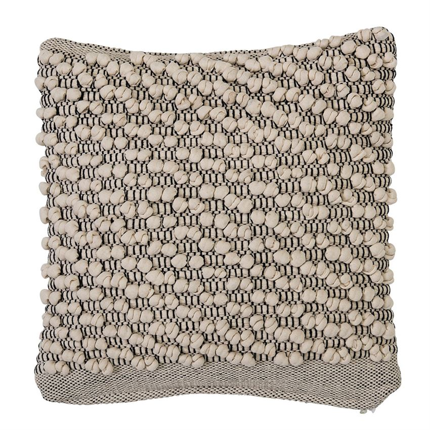 Textured Ivory and Grey Square Pillow
