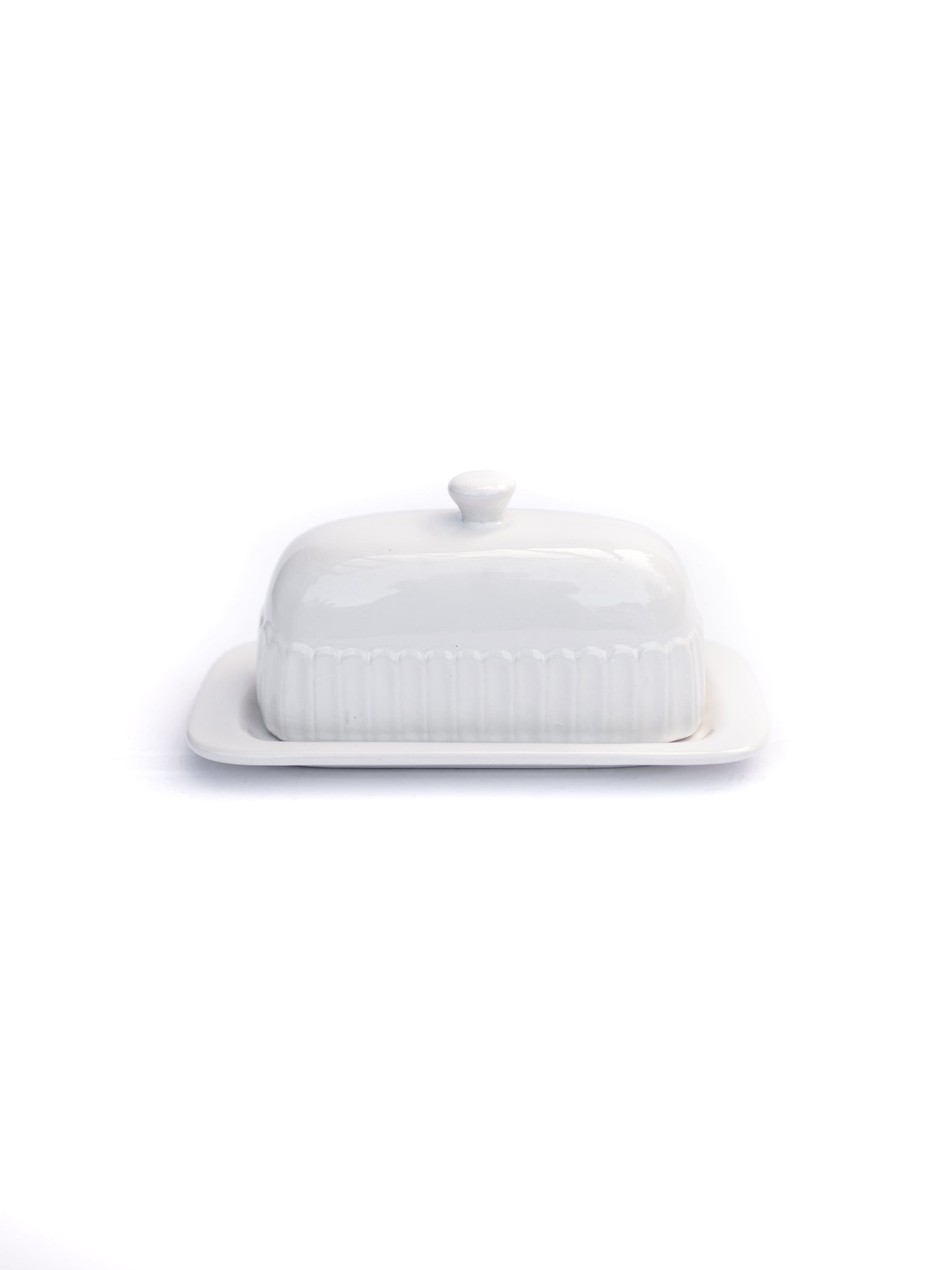 White Textured Butter Dish