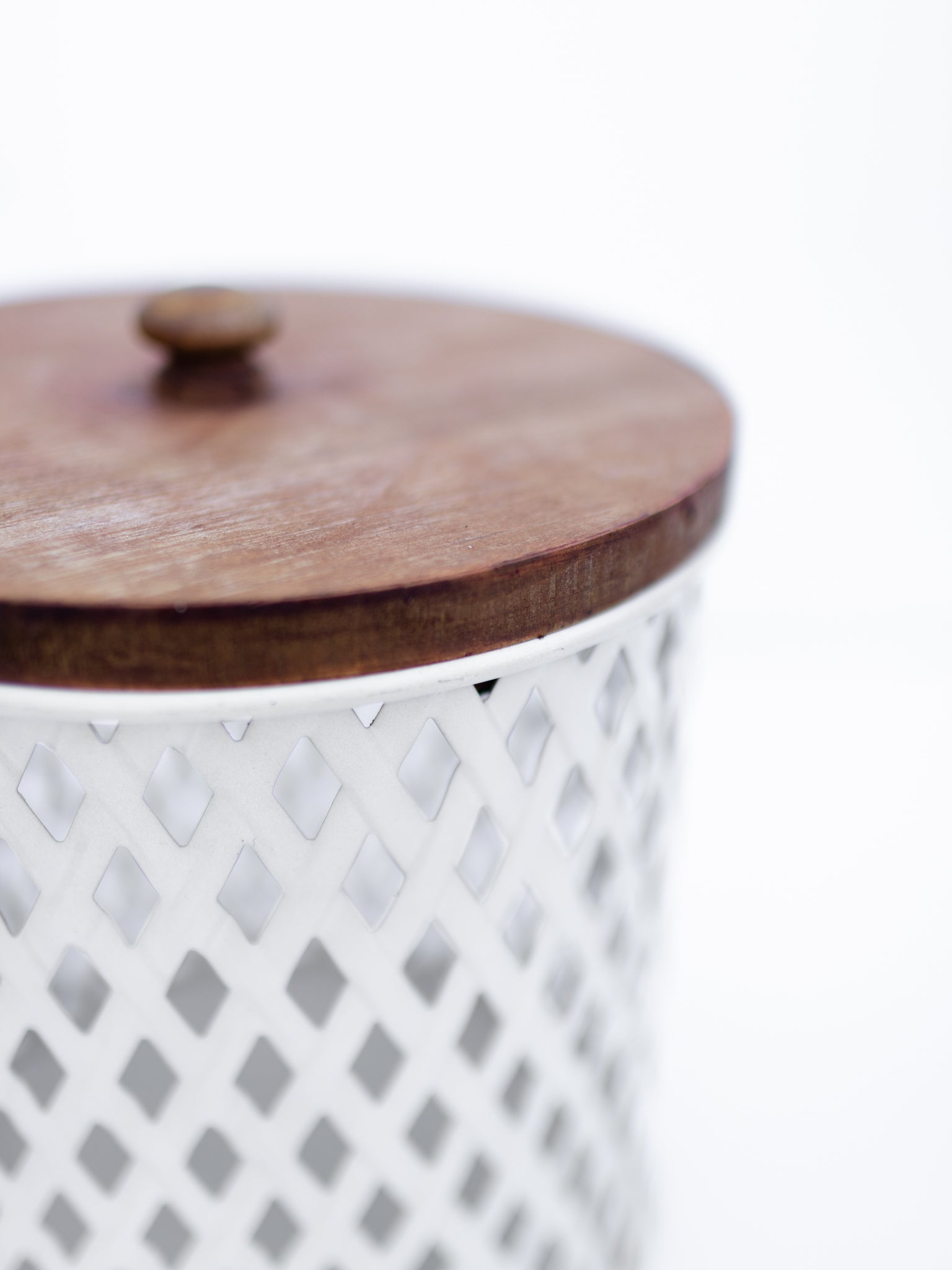 Metal Canister w/ Wood Lid