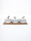 Bamboo Tray w/ Three Stoneware Pots