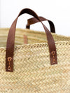 Oversized Woven Basket with Leather Handle