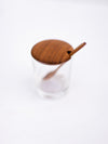 Glass Mini Cellar with Teak Lid & Spoon