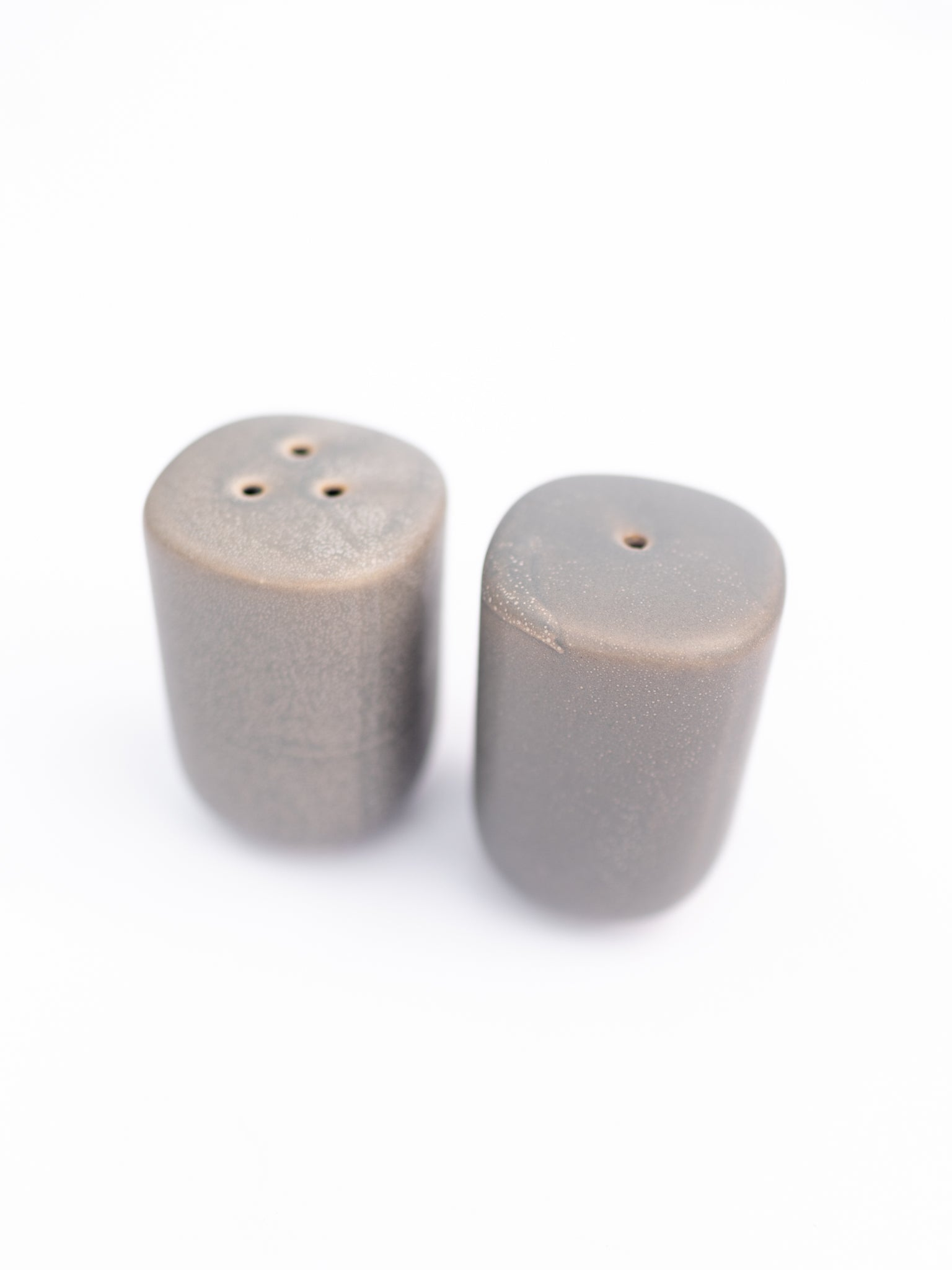 Matte Grey Stoneware Salt & Pepper Shakers