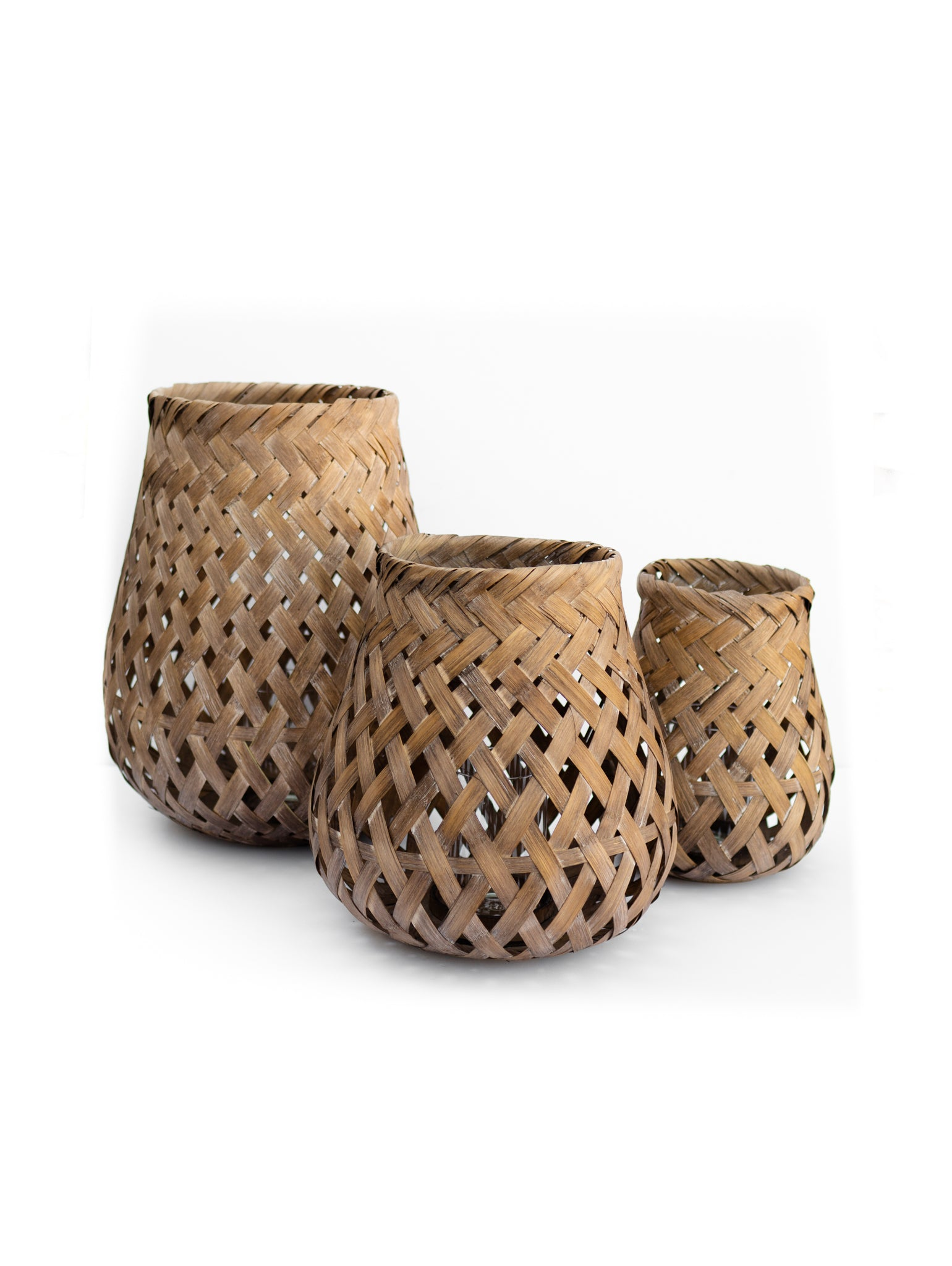 Woven Bamboo Candle Basket