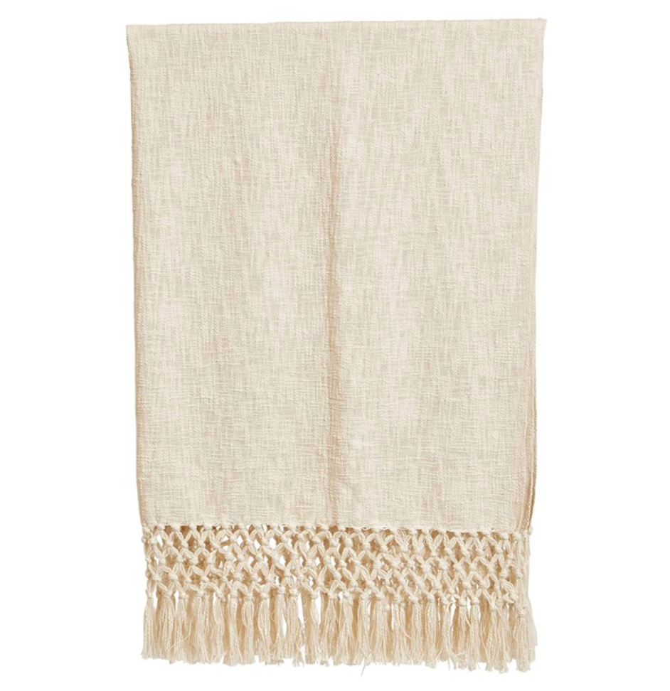 Woven Throw w/ Crochet Fringe
