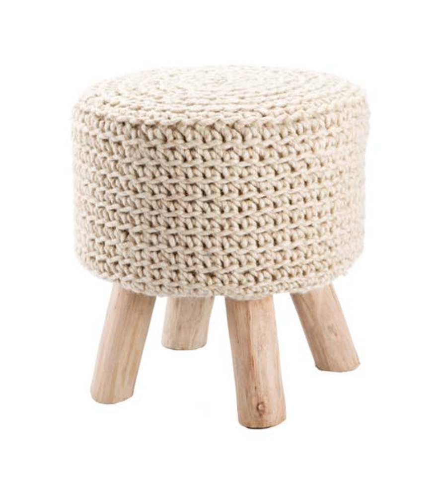 Wool Pouf with Wooden Legs