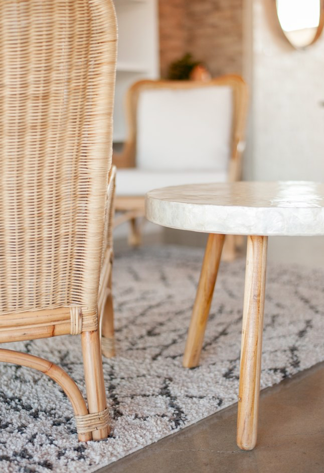 Capiz and Teak End Table