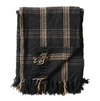 Black and Tan Woven Throw w/ Fringe
