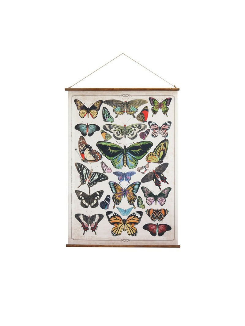 Canvas & Wood Butterfly Scroll