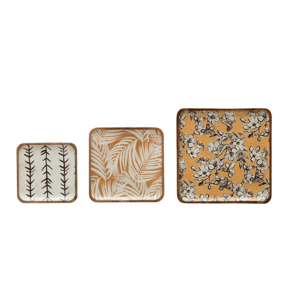 Acacia Wood Trays w/ Print