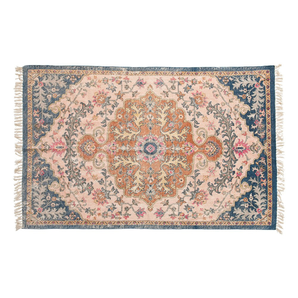 "4'x6"" Woven Cotton Distressed Print Rug"