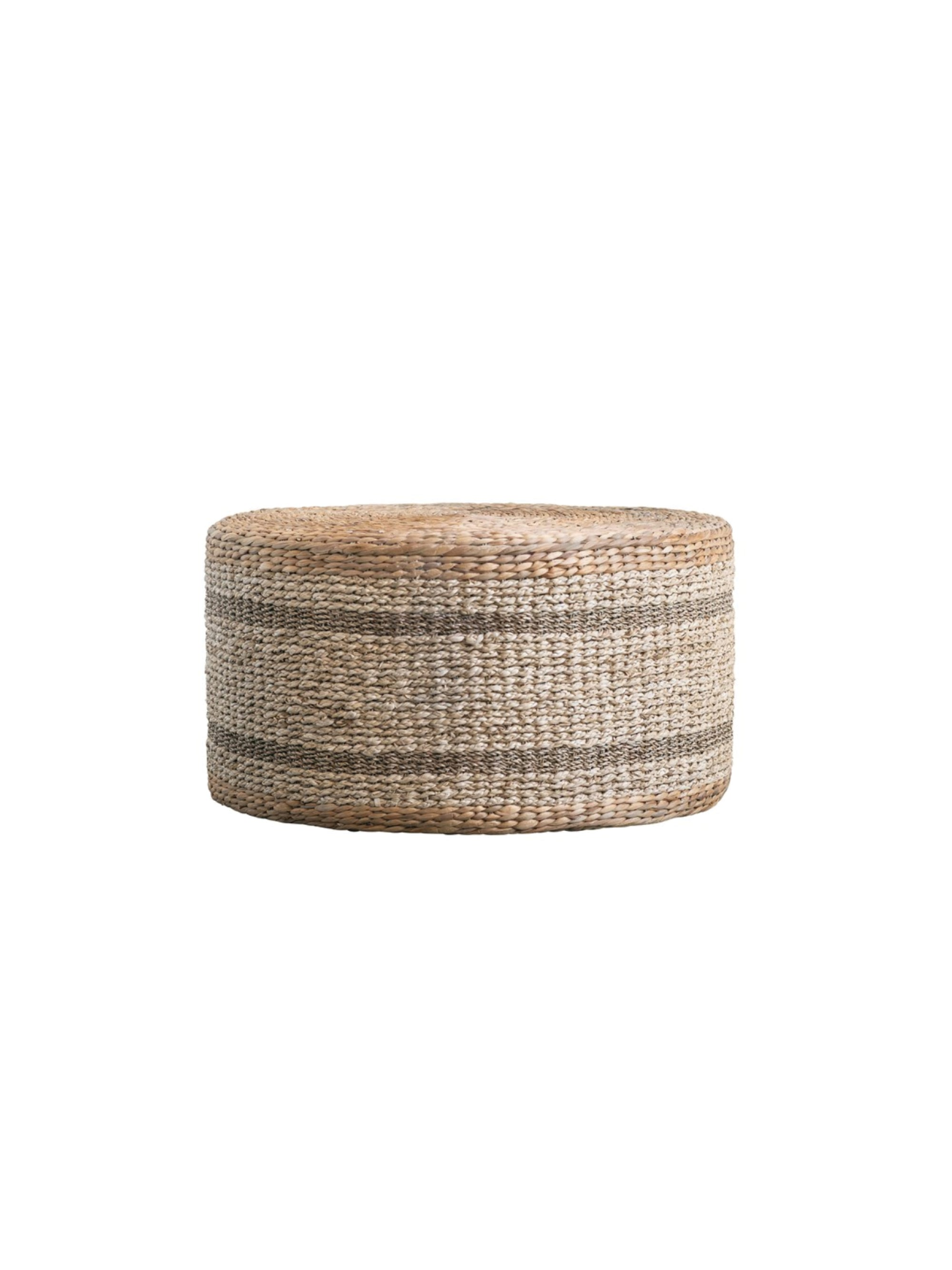 Natural Woven Hyacinth & Seagrass Pouf