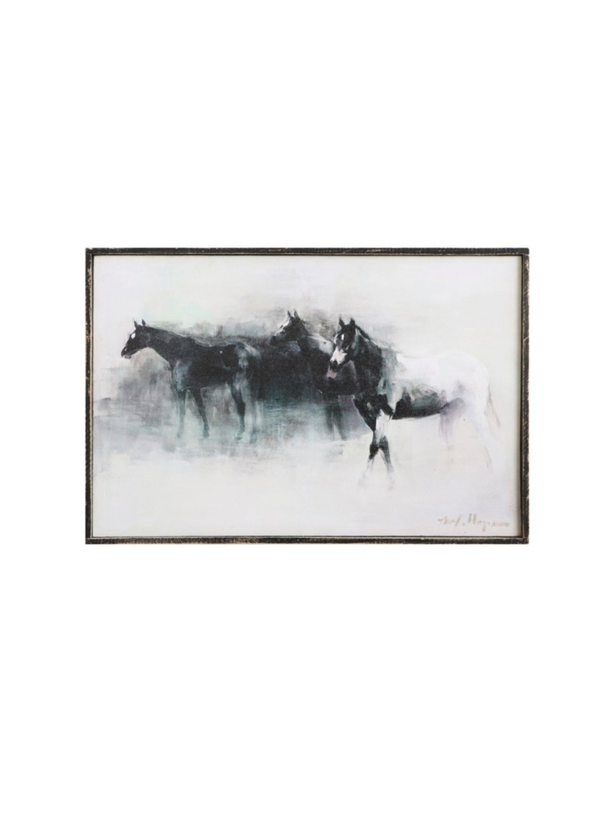 Wood Framed Canvas Horse Print