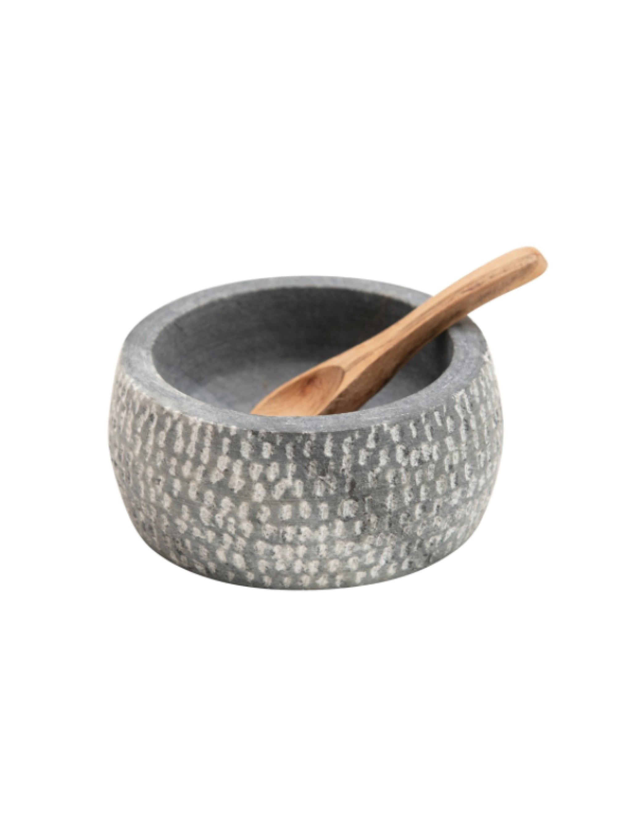 Granite Bowl with Carved Wood Spoon