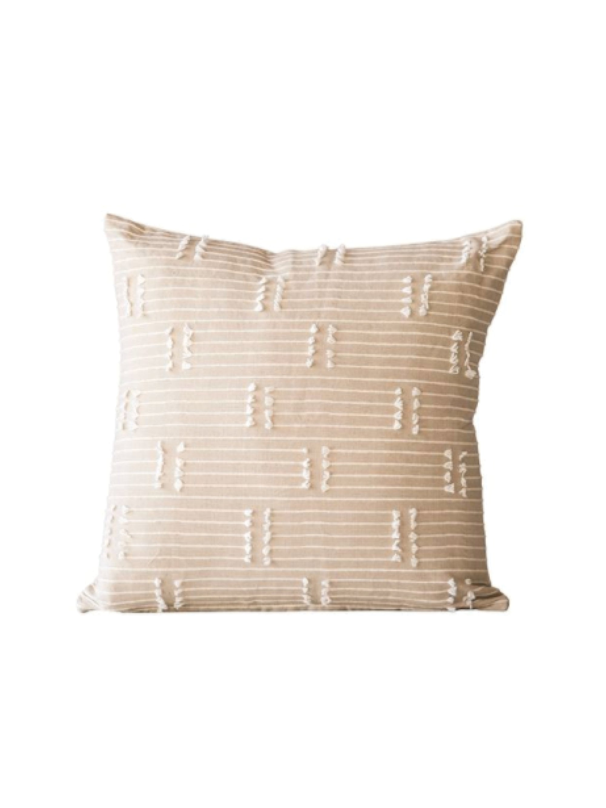 Taupe Woven Cotton Pillow w/ Tassels