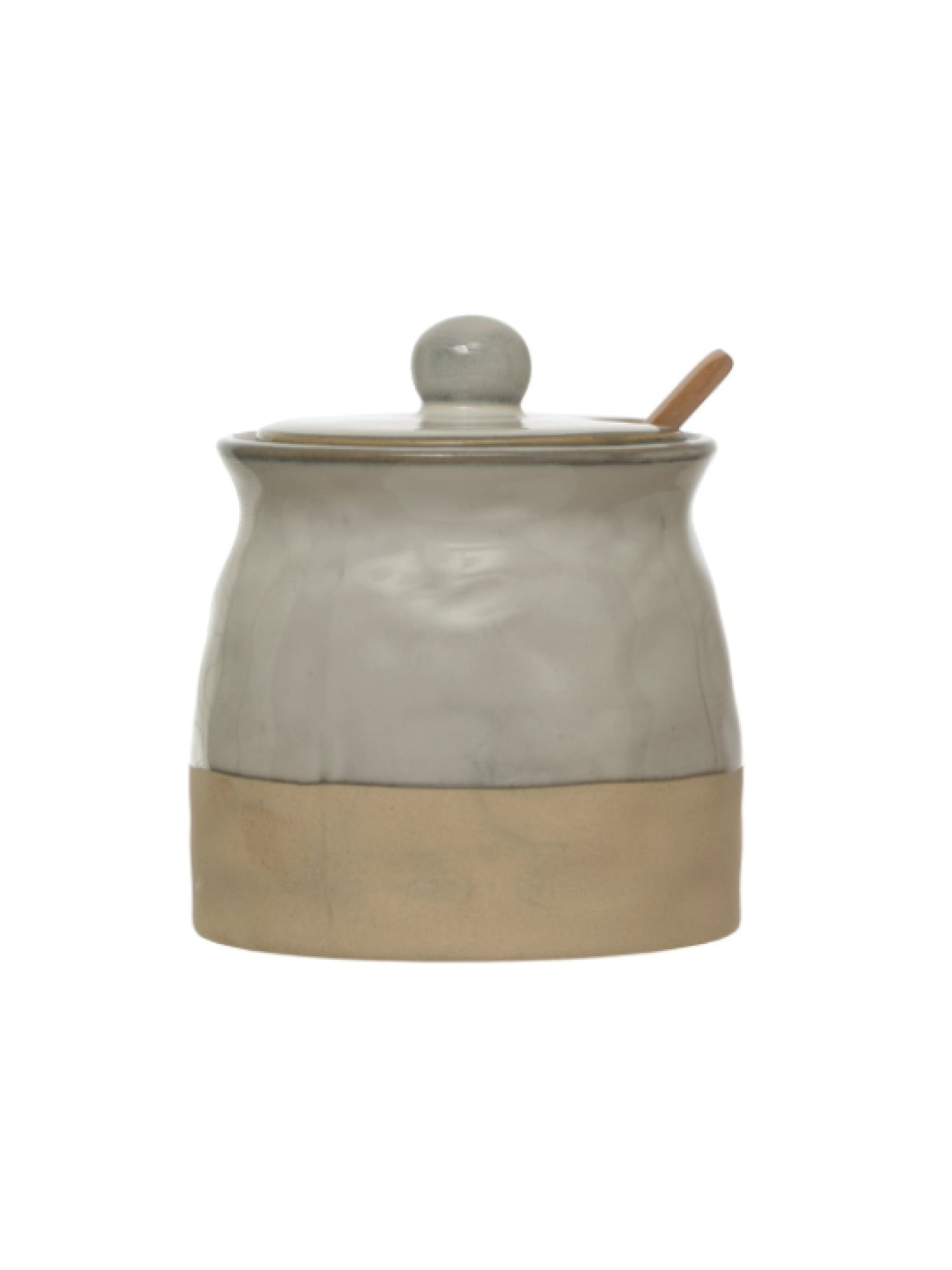 Stoneware Sugar Pot w Wood Spoon