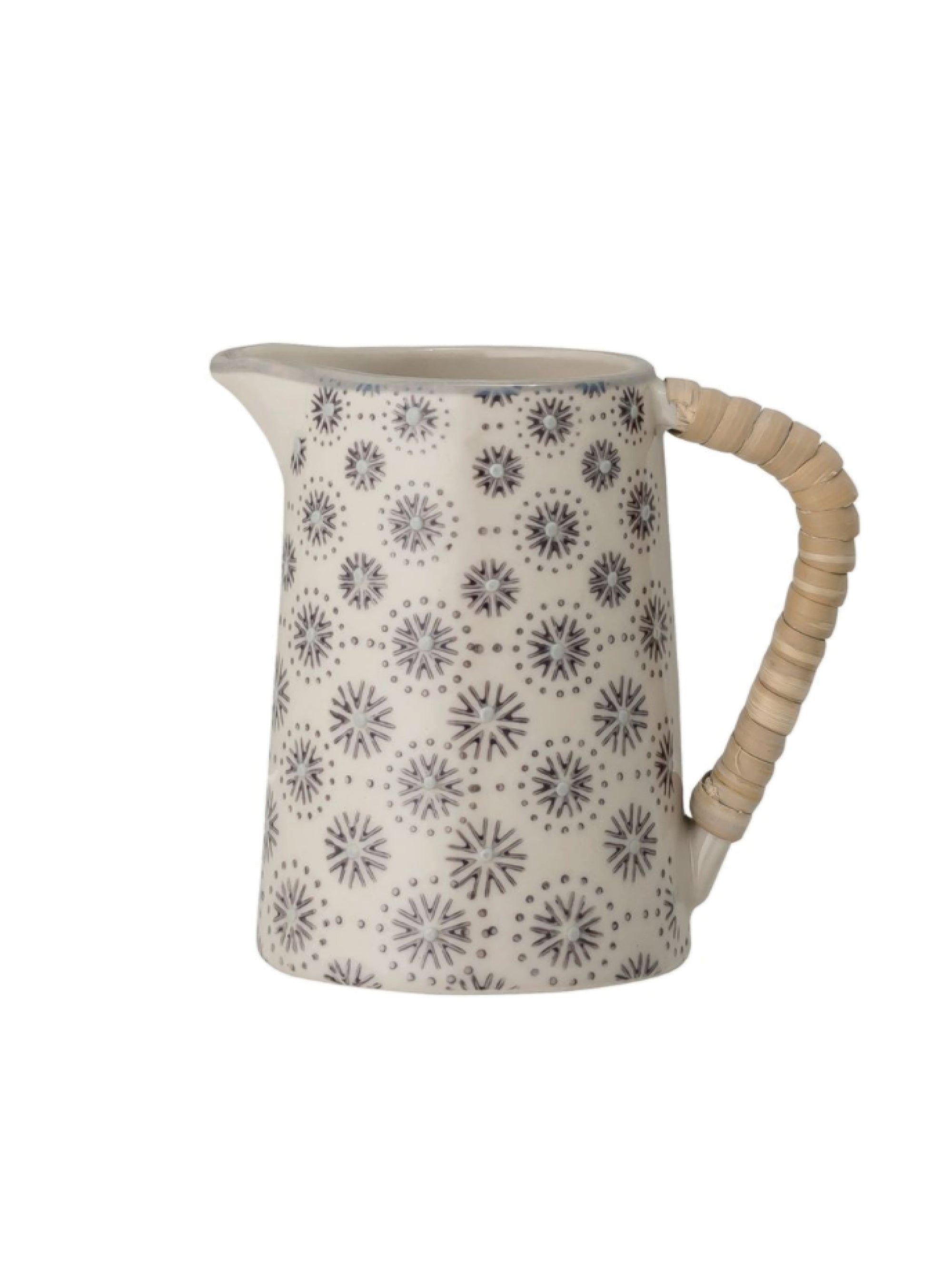 Hand-Stamped Stoneware Creamer w/ Wrapped Handle
