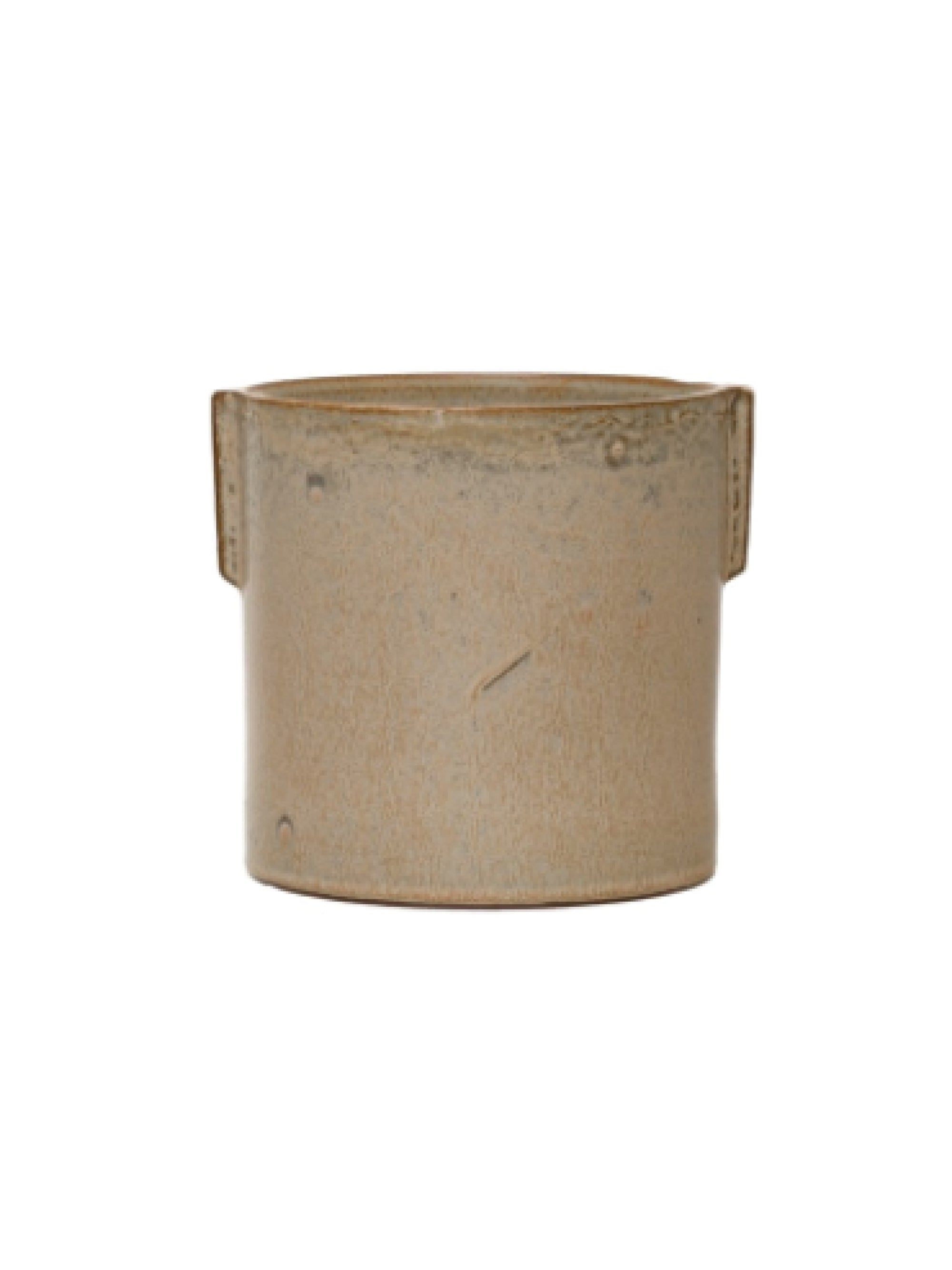 Stoneware Flower Pot w/ Reactive Glaze