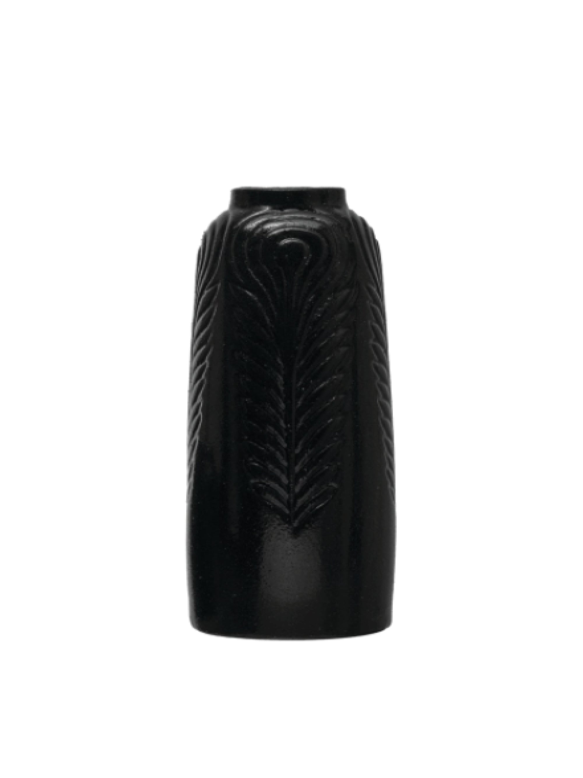 Black Embossed Stoneware Vase