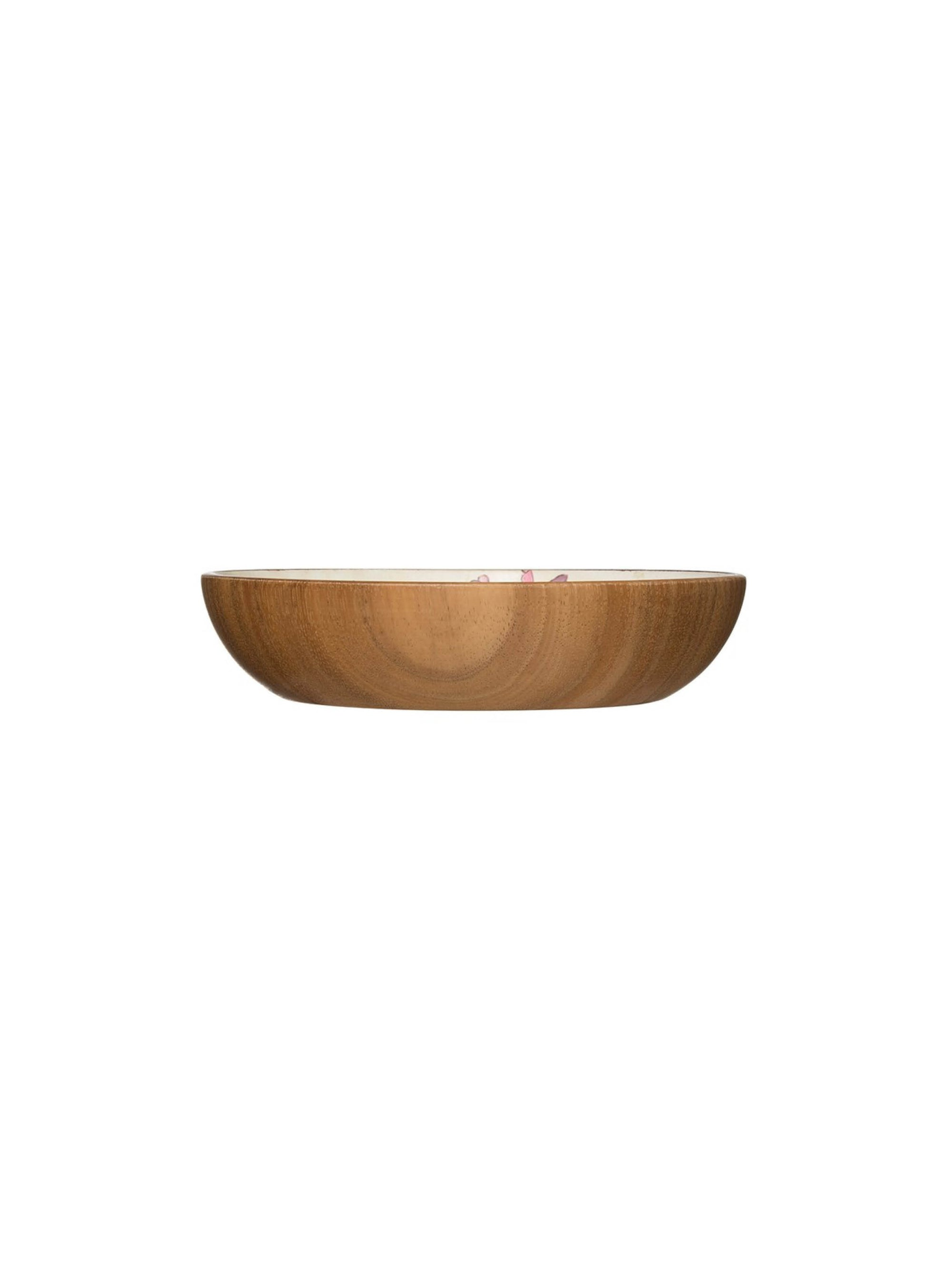 Acacia Wood Bowl with Flowers