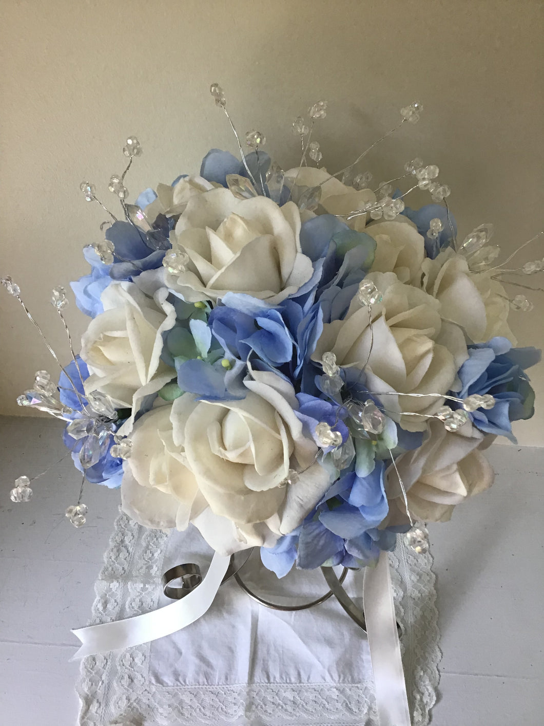 "The ""Elsa""  Rose and Blue Hydrangea Bridal Bouquet."