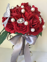 "The ""Rachel"" Red Rose Brooch Bridal Bouquet"
