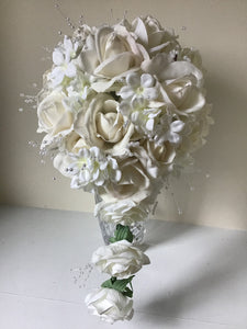 "The ""Anna"" White Rose Cascade Bridal Bouquet"