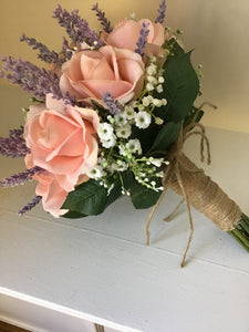 Rustic roses and lavender Bridal bouquet