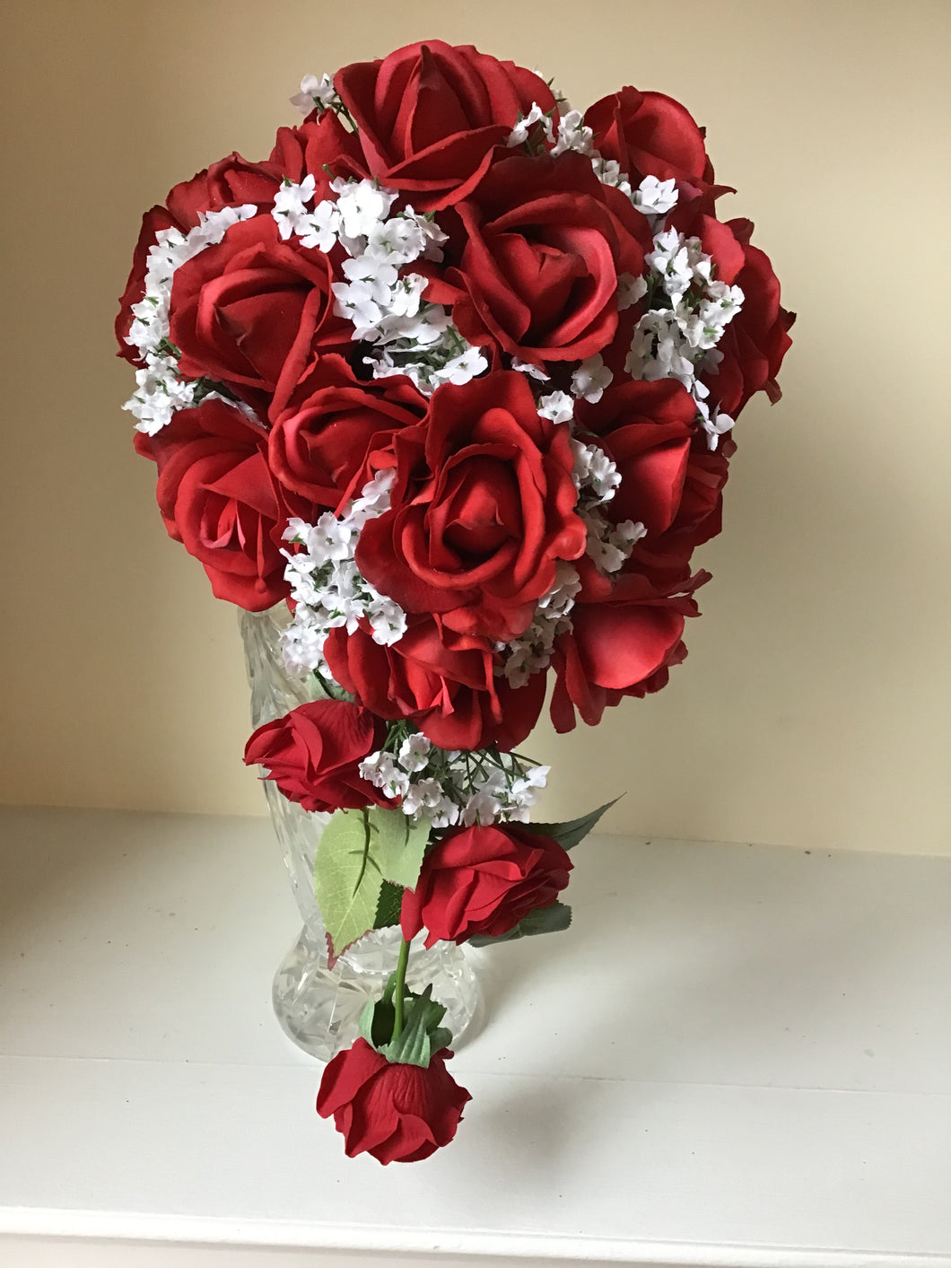 Red Rose Cascade Bridal Bouquet