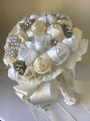 Brooch bouquet with satin roses