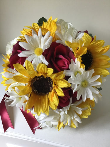 "The ""Hannah"" Sunflower and Rose Bridal Bouquet"