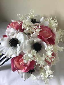 "The ""Natalie"" Anemone and Rose Bridal Bouquet"