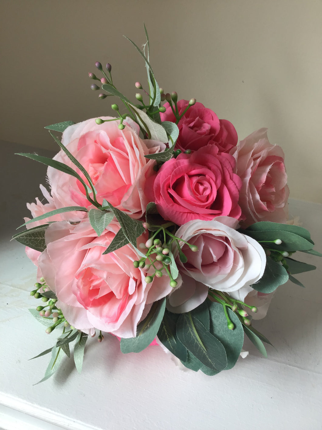 "The ""Leah"" Rose and Succulent Bridesmaid Bouquet"