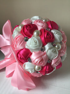 Pink satin ribbon roses bridal bouquet