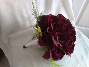 Burgundy rose bridal bouquet
