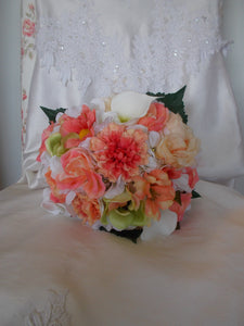Coral and White garden bouquet