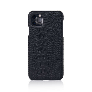 Black Faux Crocodile iPhone Case