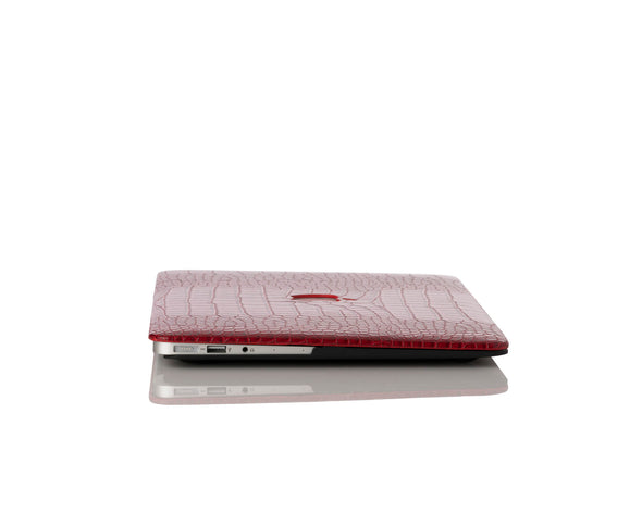 Crimson Faux Crocodile MacBook Case