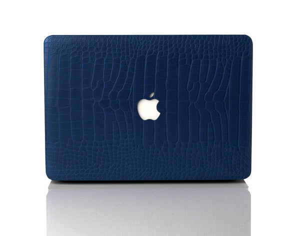 Navy Faux Crocodile MacBook Case