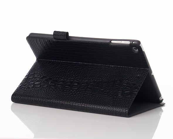 Black Faux Crocodile iPad Case