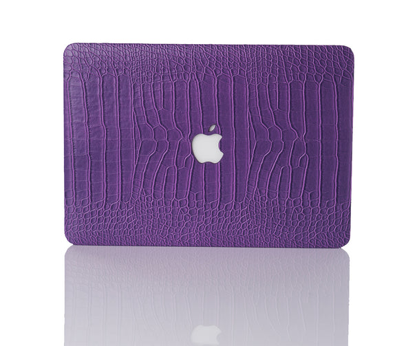 Plum Faux Crocodile MacBook Case
