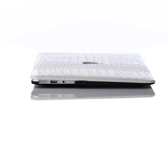 Snow Faux Crocodile MacBook Case