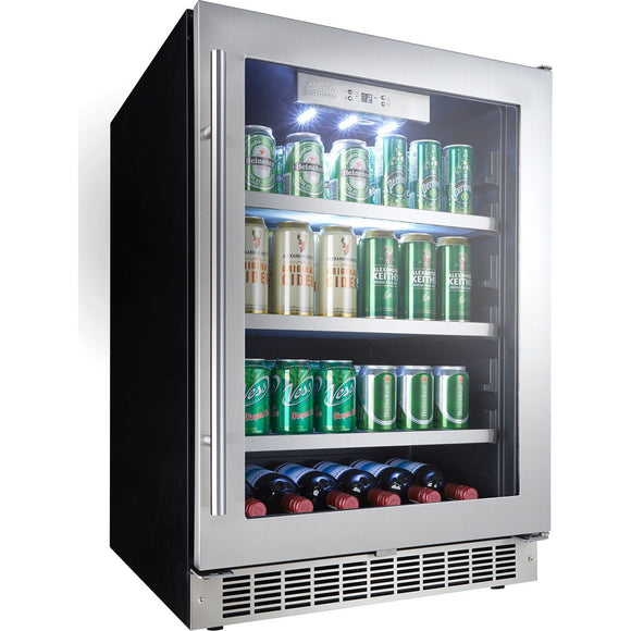 Danby Beverage Cooler (126 Cans 6 Bottles) (DBC056D2BSSPR) - BlackStainless