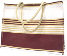 Victory Stripe Jute Tote in Maroon/White/Gold